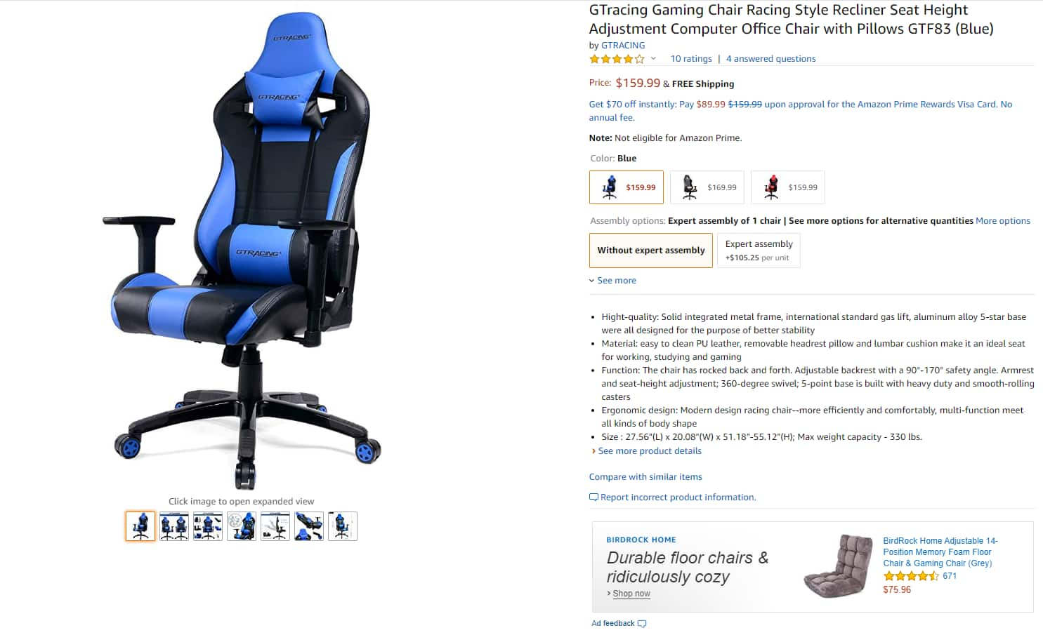 GTRacing Gaming Chair $111.99 w/ 30% off coupon