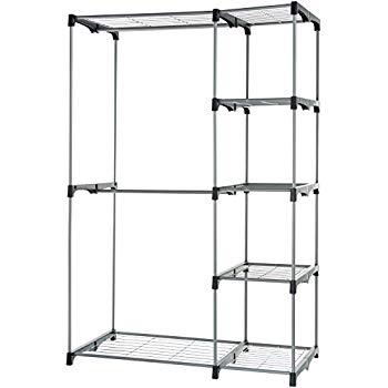 AmazonBasics Double Rod Freestanding Closet, Silver - $21