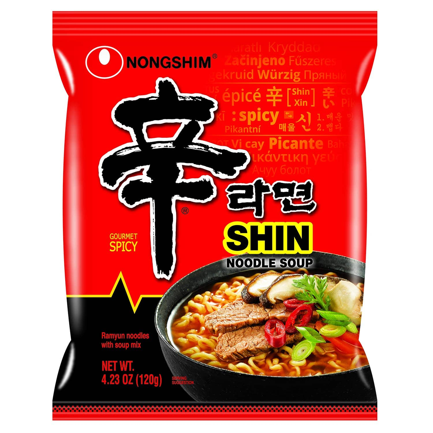 Nongshim Shin Ramyun Noodle Soup, Gourmet Spicy, 4.2 Ounce (Pack of 20) $16.66