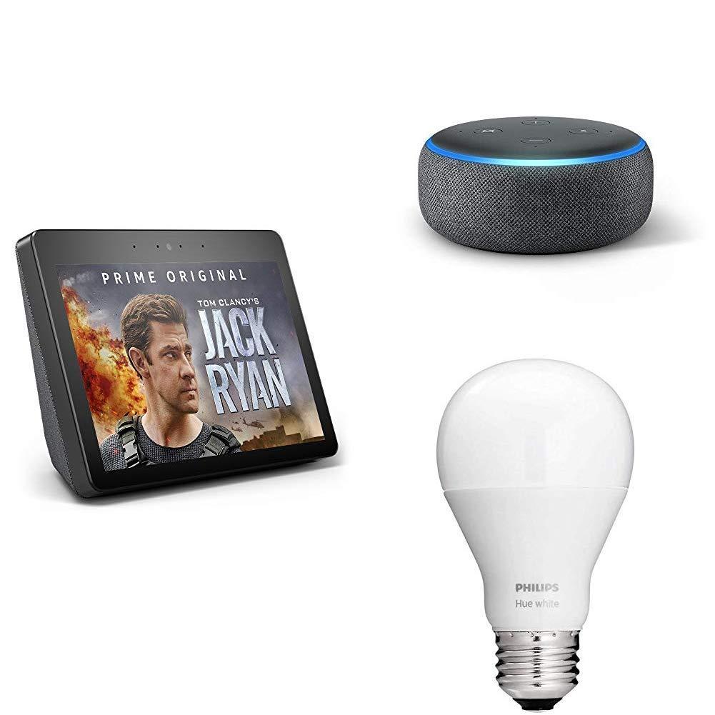 Echo Show (2nd Gen) Charcoal Bundle + Free Echo Dot Charcoal and Philips Hue Bulb $159.99