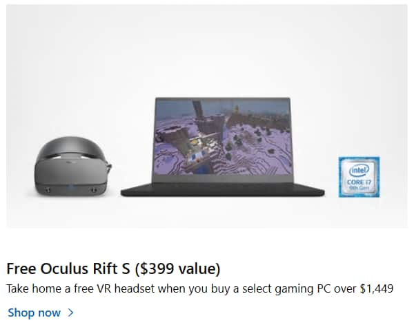 Free Oculus Rift S with Gaming PC purchase $1249