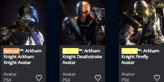 Playstation: free Batman Arkham Knight Avatars through Playstation Store
