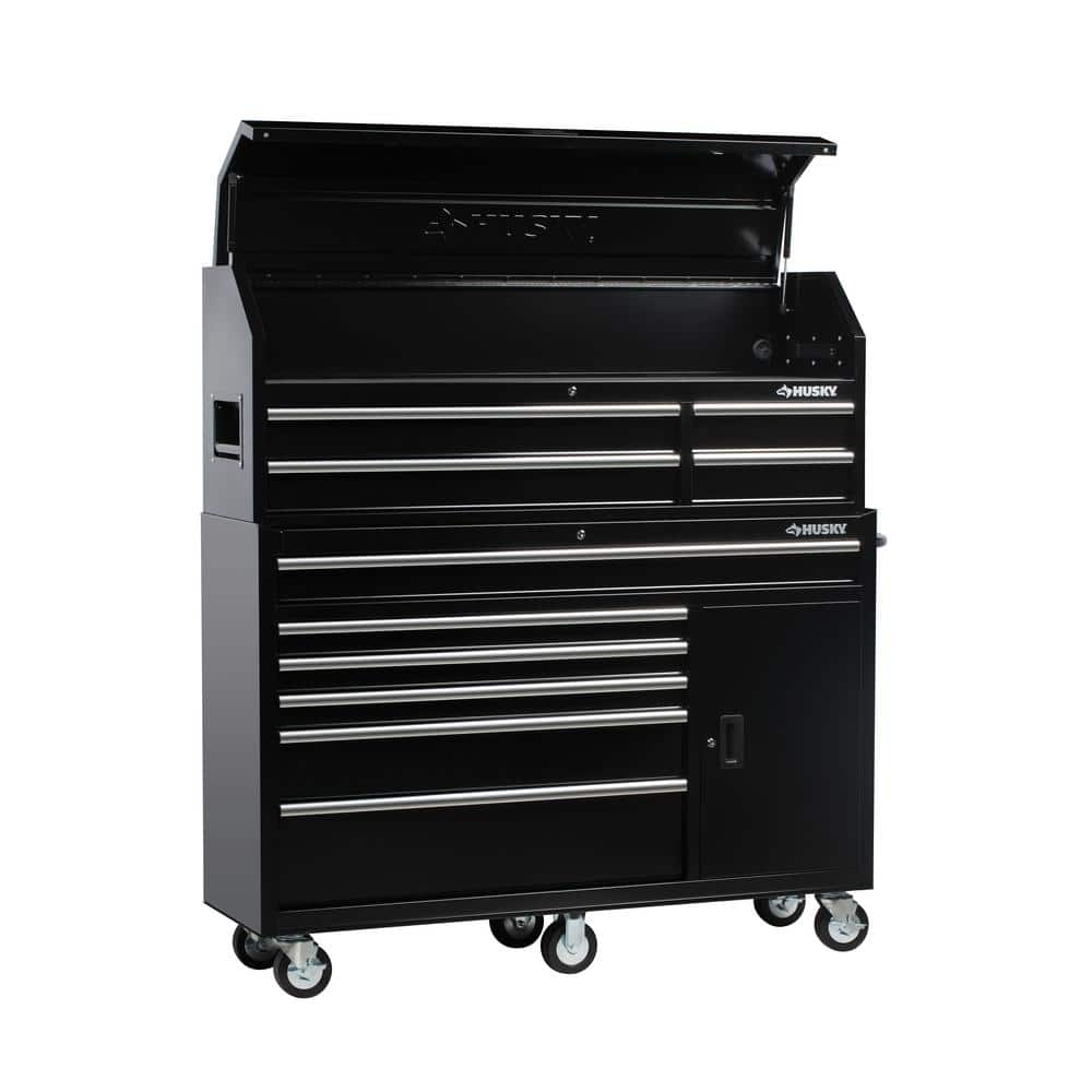 Husky 61 In W X 18 D 10 Drawer 1 Door Tool Chest And Cabinet Combo Black 498