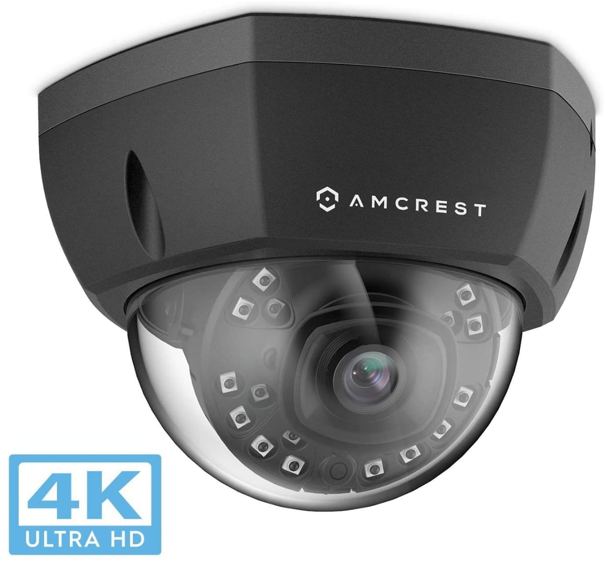 Amcrest UltraHD 4K (8MP) Dome POE IP Camera, 3840x2160, 98ft NightVision, 2.8mm Lens $60.82