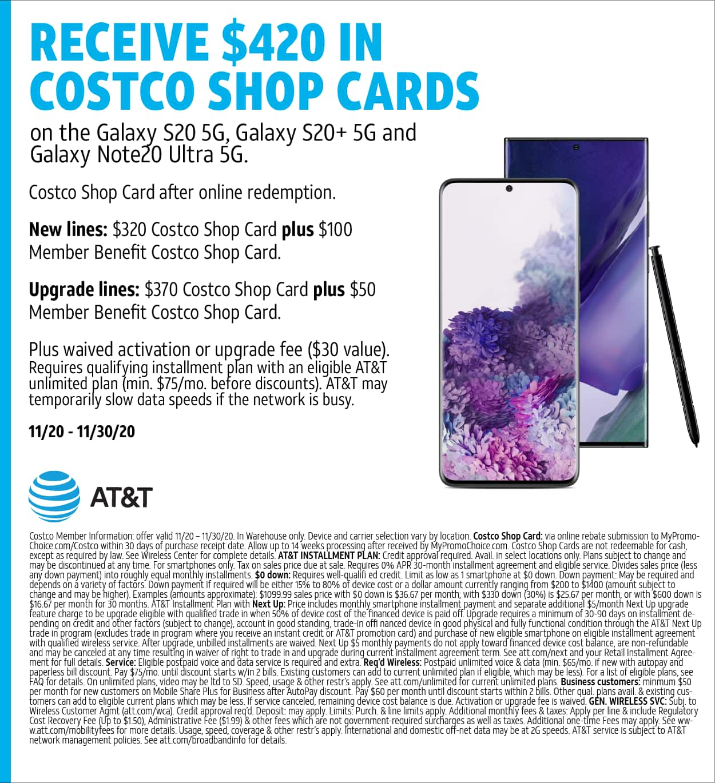 COSTCO- Samsung Galaxy S20/S20+/Note20 Ultra upgrade/new line ATT. $420 Costco GC. No trade in required. 11/20/2020 - 11/30/2020. $630