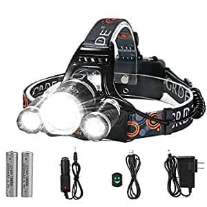 5000 Lumens LED Headlamp with 2 Rechargeable Batteries+free shipping $20.99