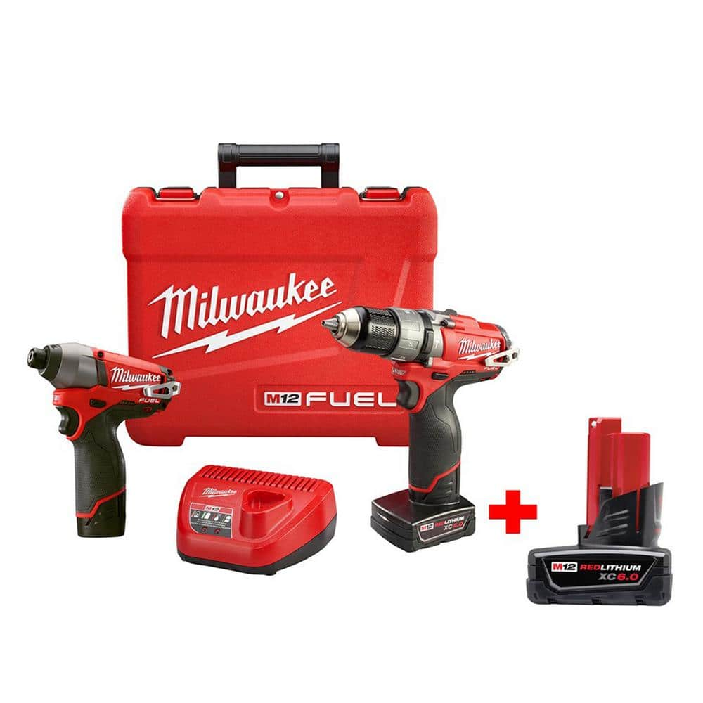 Milwaukee M12 FUEL 12-Volt Lithium-Ion 1/2 in. Brushless Hammer Drill/Driver and Brushless Impact Combo Kit W/ Free 6.0ah Battery - $199