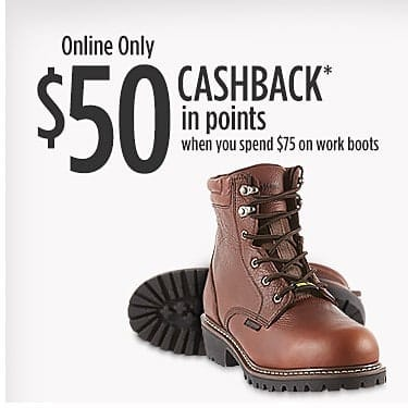 Sears Online Only SYWR Members Get $50 Back In Points When You Spend $75 on Workboots + FS or Store Pickup