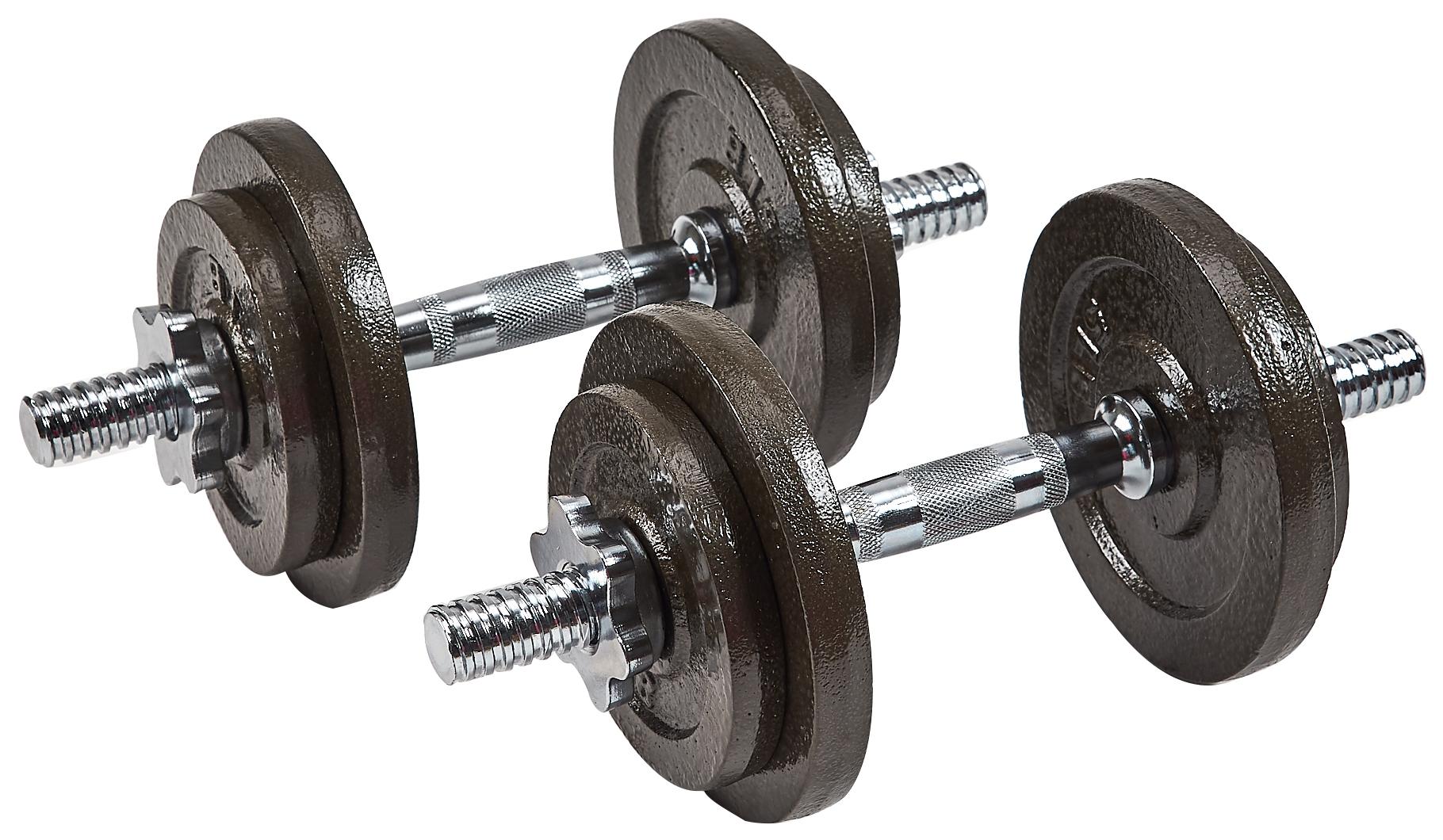 Everyday Essentials Contoured Handle Cast Iron Adjustable Dumbbell Weight Set  $70
