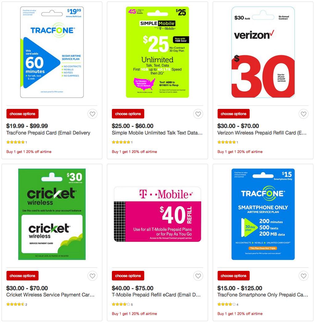 BOGO 20% off select prepaid phone card at Target $10