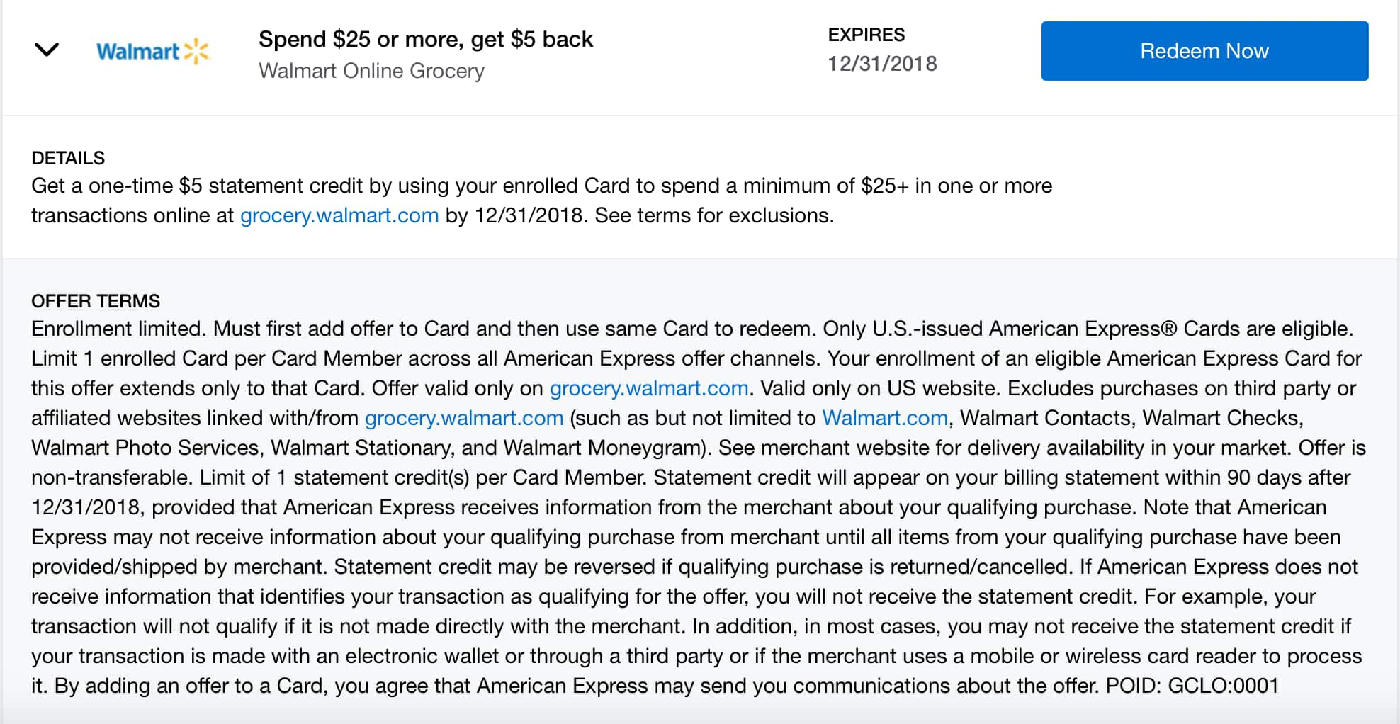 YMMV Amex Offers: Spend $25 or more and get $5 back at Walmart Online Grocery