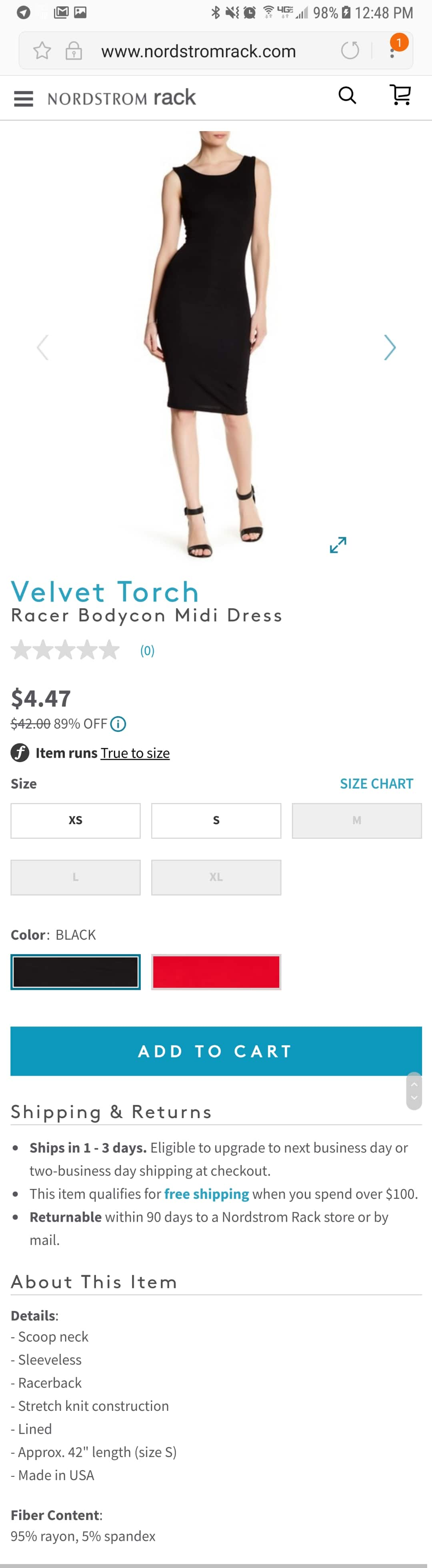 Velvet TorchRacer Bodycon Midi Dress(size S)  $4.47 + shipping @ Nordstrom Rack