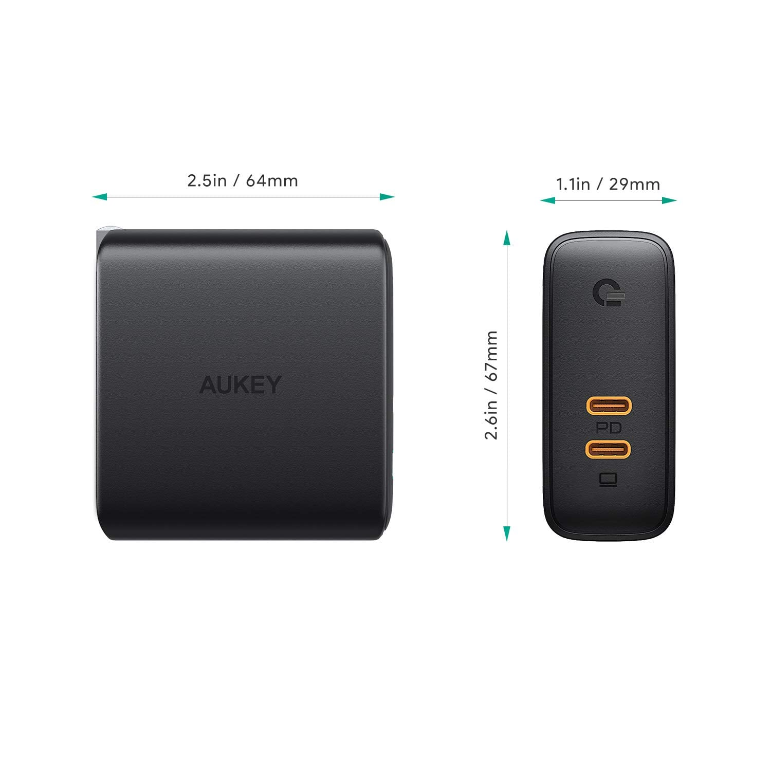 AUKEY 60W Dual Port USB-C Power Delivery 3.0 [GaN] Fast Charger $24.99