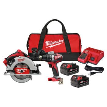 Milwaukee 2992-22 M18 Brushless Lithium-Ion 1/2 in. Cordless Hammer Drill Driver / 7-1/4 in. Circular Saw Combo Kit (5 Ah) $296.99