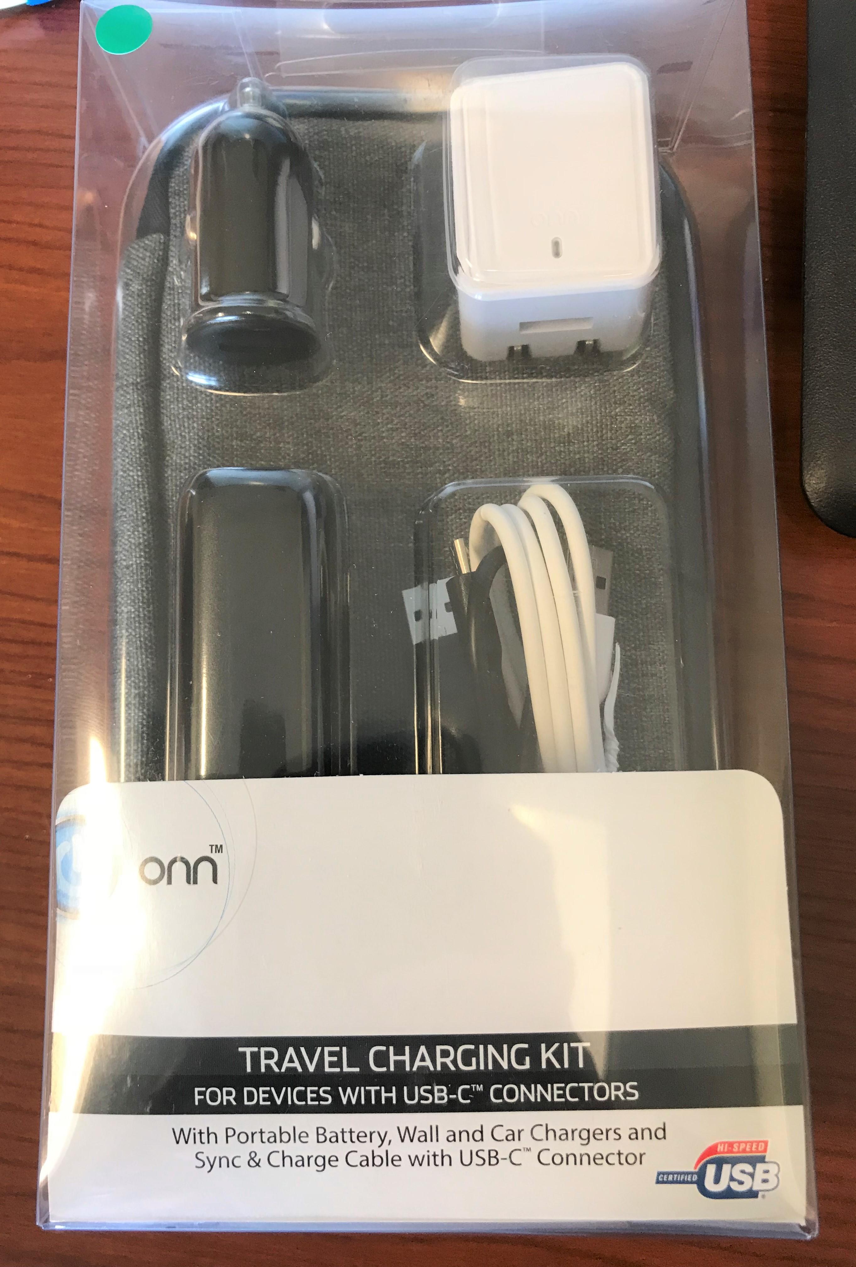 Walmart B M Onn Travel Charging Kit For Usb C Micro Usb Or