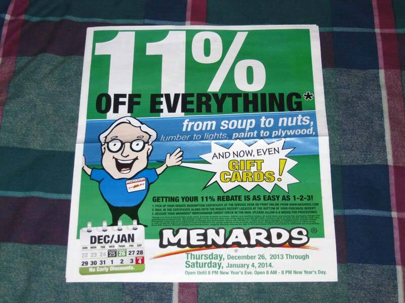 MENARDS 11% REBATE on Everything - even Gift Cards - Extended