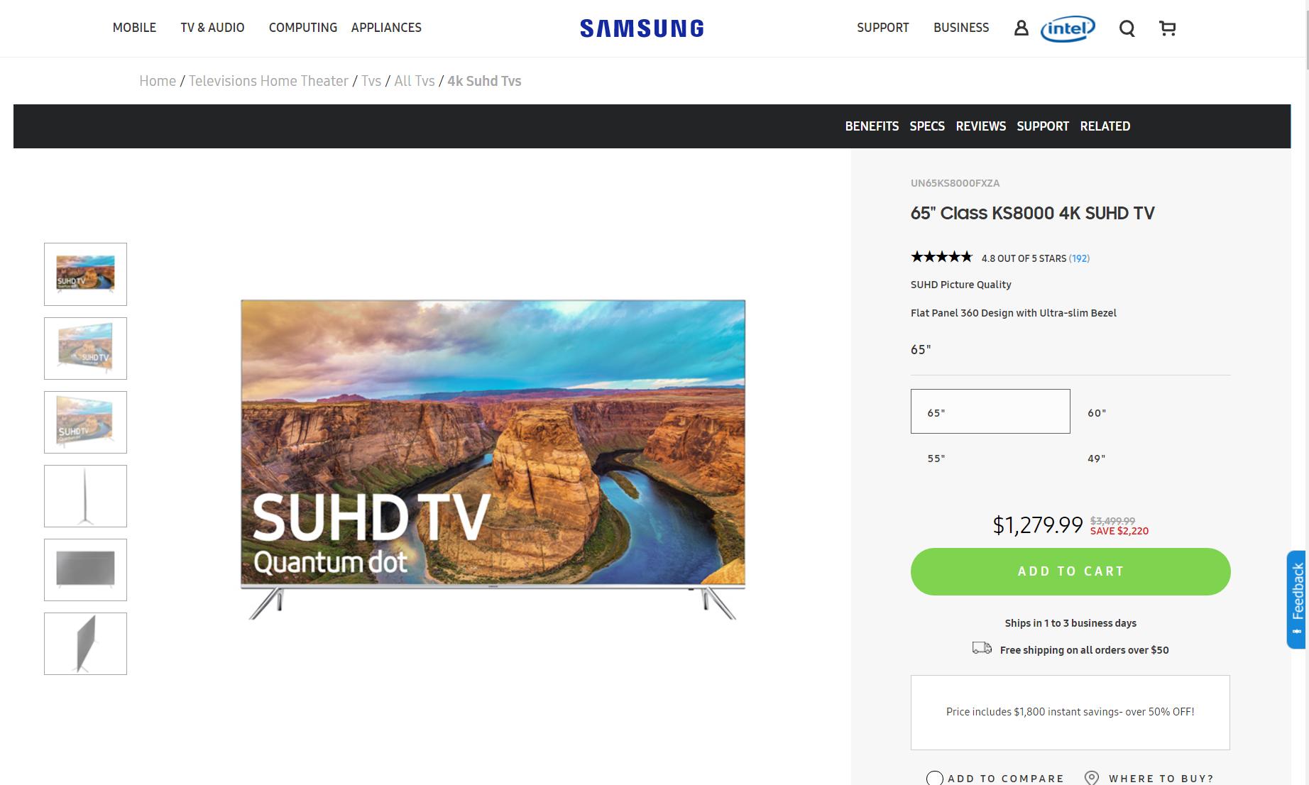 """Samsung un65ks8000fxza 65"""" $1,279! EPP Required!"""
