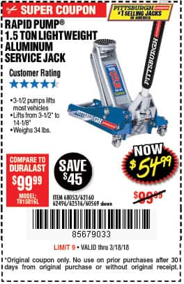 Harbor Freight Rapid Pump 1 5 Ton Jack 54 99 Ac Thru 3 18