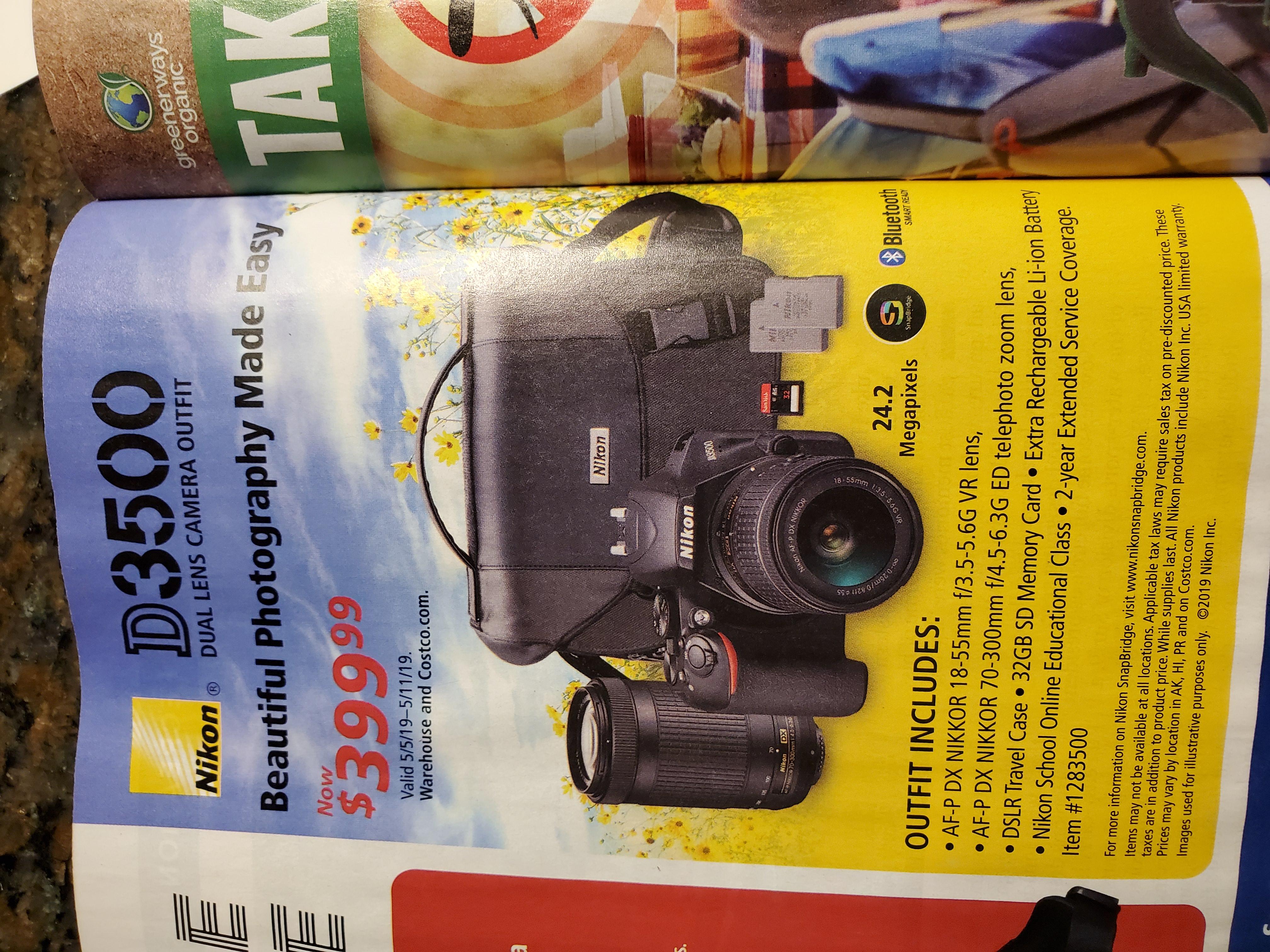 Nikon D3500 + 18-55 mm + 70-300 mm Nikon lenses+ Extra