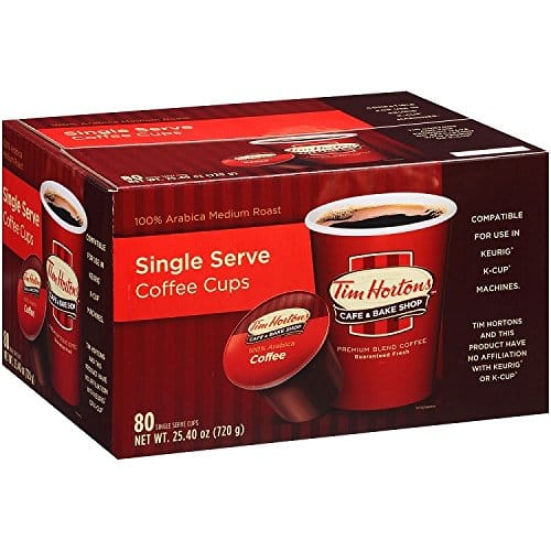 80 count Tim Horton premium roast k cups $24.48 with subscribe and save amazon