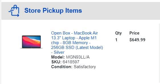 Apple Macbook air with M1 (7 core GPU with 256GB SSD) Open Box satisfactory condition $649.99
