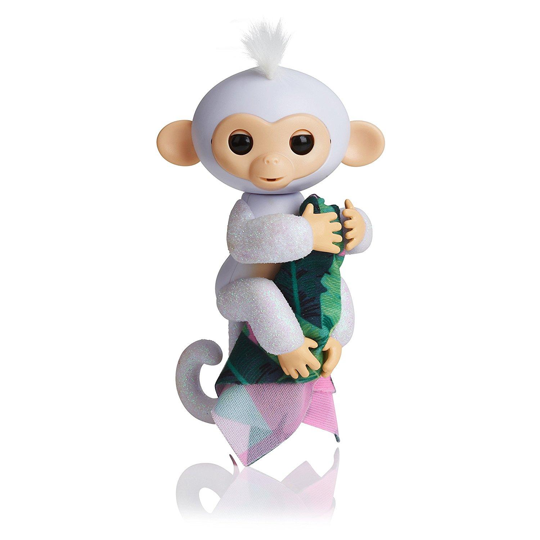 Fingerlings Glitter Monkey (Amazon Exclusive) - Sugar (White Glitter + Bonus Blankie) - Interactive Baby Pet - By WowWee  Pre-order for Dec 3 17.99 Amazon