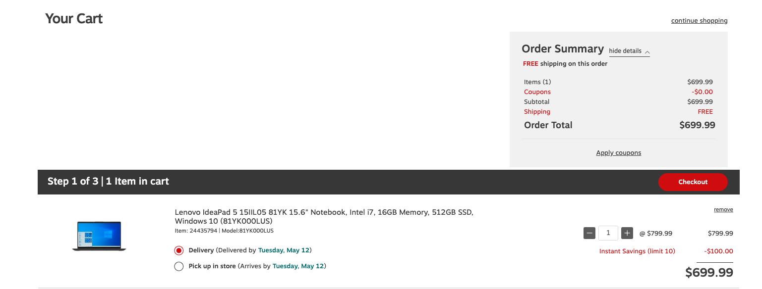 Lenovo IdeaPad 5 Intel i7-1065G7 16GB RAM 512GB SSD $699