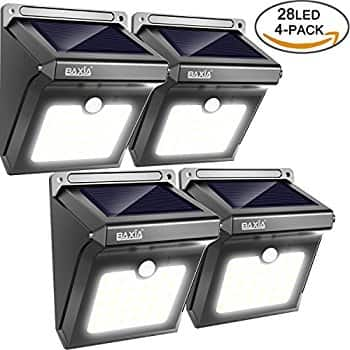 28 LEDs Wireless Solar Motion Sensor Light Rechargeable Waterproof Security Lights -  4 Pack  - $21.84 S&S @ Amazon