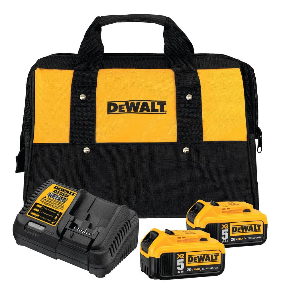20-Volt MAX XR Lithium-Ion Starter Kit with Premium Battery Pack 5.0Ah (2-Pack), Charger and Kit Bag $127.99
