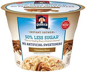 Quaker Instant Oatmeal Express Cups 50% Less Sugar, Cinnamon Pecan, 1.41 Ounce (Pack of 12) $8.48 or less