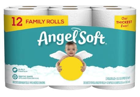Angel Soft Bath Tissue 12 Family Rolls $4.50 A/C FS $35+