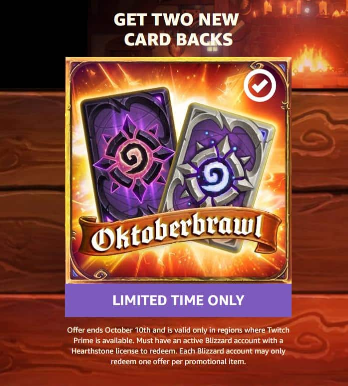 For Twitch Prime accounts - Get two Hearthstone's Oktoberbrawl card backs free
