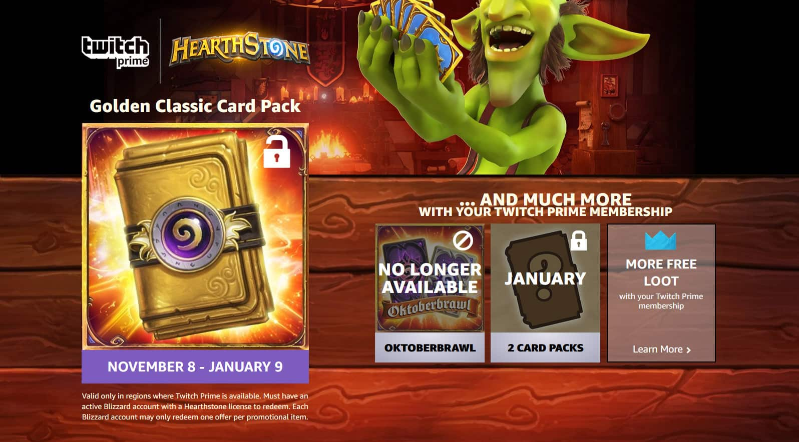 Twitch Prime Members November Loot Hearthstone's Golden Card Pack