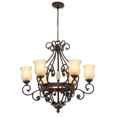 Freemont Collection 6-Light Hanging Antique Bronze Chandelier with Glass Shades for $ 145.59 @  homedepot $145.59