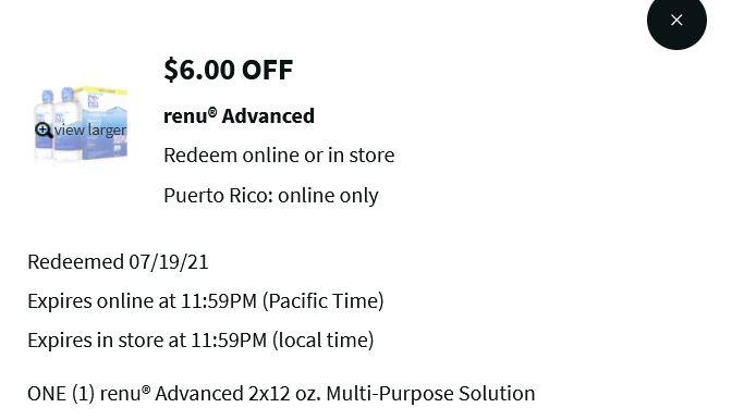 Walgreens: 2 x 12oz Bausch + Lomb ReNu Advanced Multipurpose Solution $8