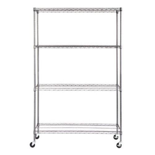 Alera 4-Shelf Wire Shelving Rack, 48 x 18 72, NSF, Black Anthracite $79.99