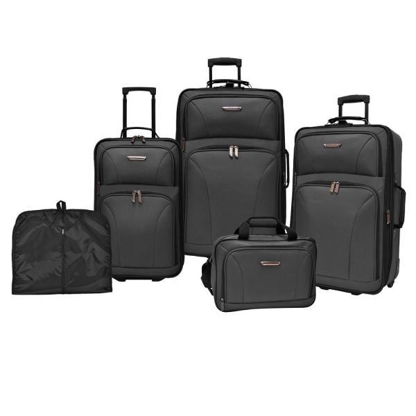 Travelers Choice Versatile 5-Piece Black Luggage Set $96.82