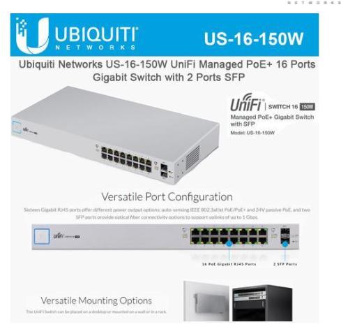 Newegg: 16-Port Ubiquiti Networks UniFi Managed 150W PoE+ Gigabit Switch w/ SFP (US-16-150W) $136.11 with Code (Must Register Email Address). Free Shipping.