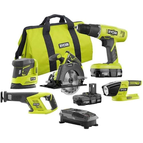 Ryobi 18-Volt One+ 5 Tool Combo Kit for $129 from Home Depot via Google Express with FS
