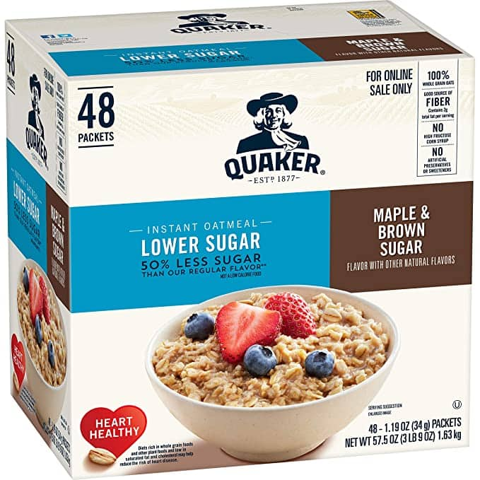 Quaker Instant Oatmeal, Lower Sugar Maple and Brown Sugar, 48 Count $7.95 from Amazon with 5% S&S discount