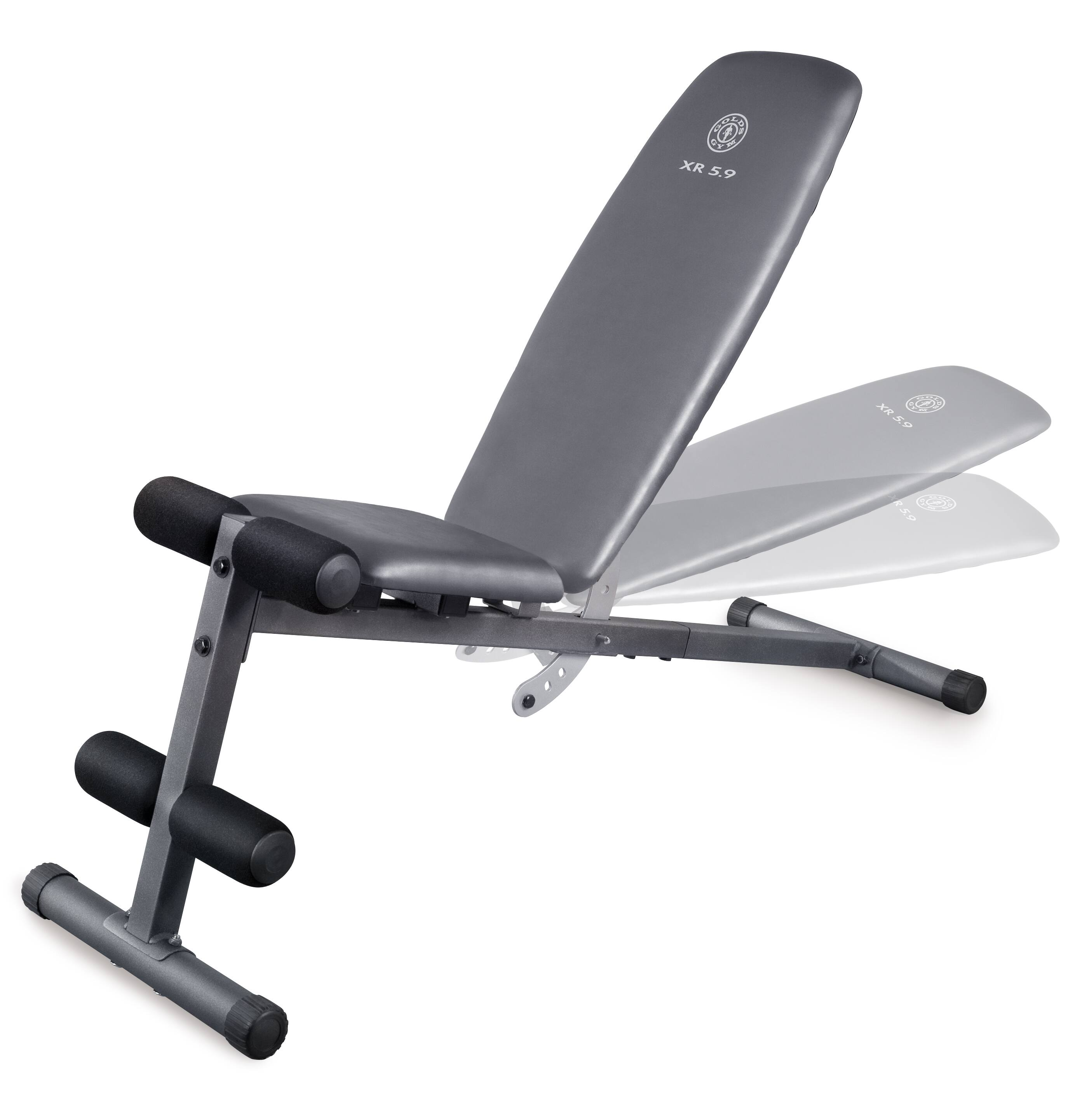 Weider XR 5.9 Adjustable Slant Workout Bench with 4-Roll Leg Lockdown and Exercise Chart $49