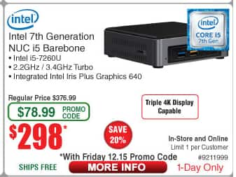 $298 Intel NUC mini PC kit NUC7i5BNH (Intel Core i5, Tall version) @ FRYS