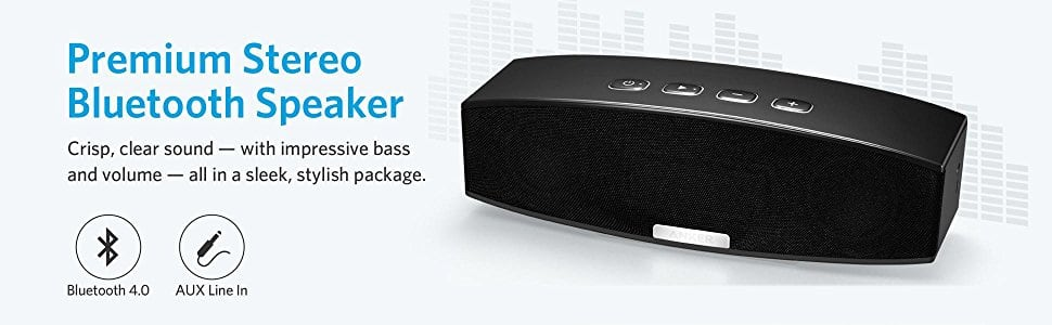 Anker 20W Premium Stereo Portable Bluetooth Speaker with Dual 10W Drivers, Two Passive Subwoofers, Wireless Speaker - Black $32 AC & FS Amazon $31.99