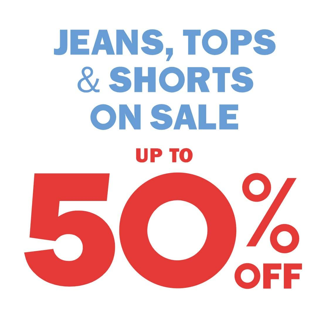 Old Navy: Up to 50% off all jeans, select tops, & shorts. Styles from $7