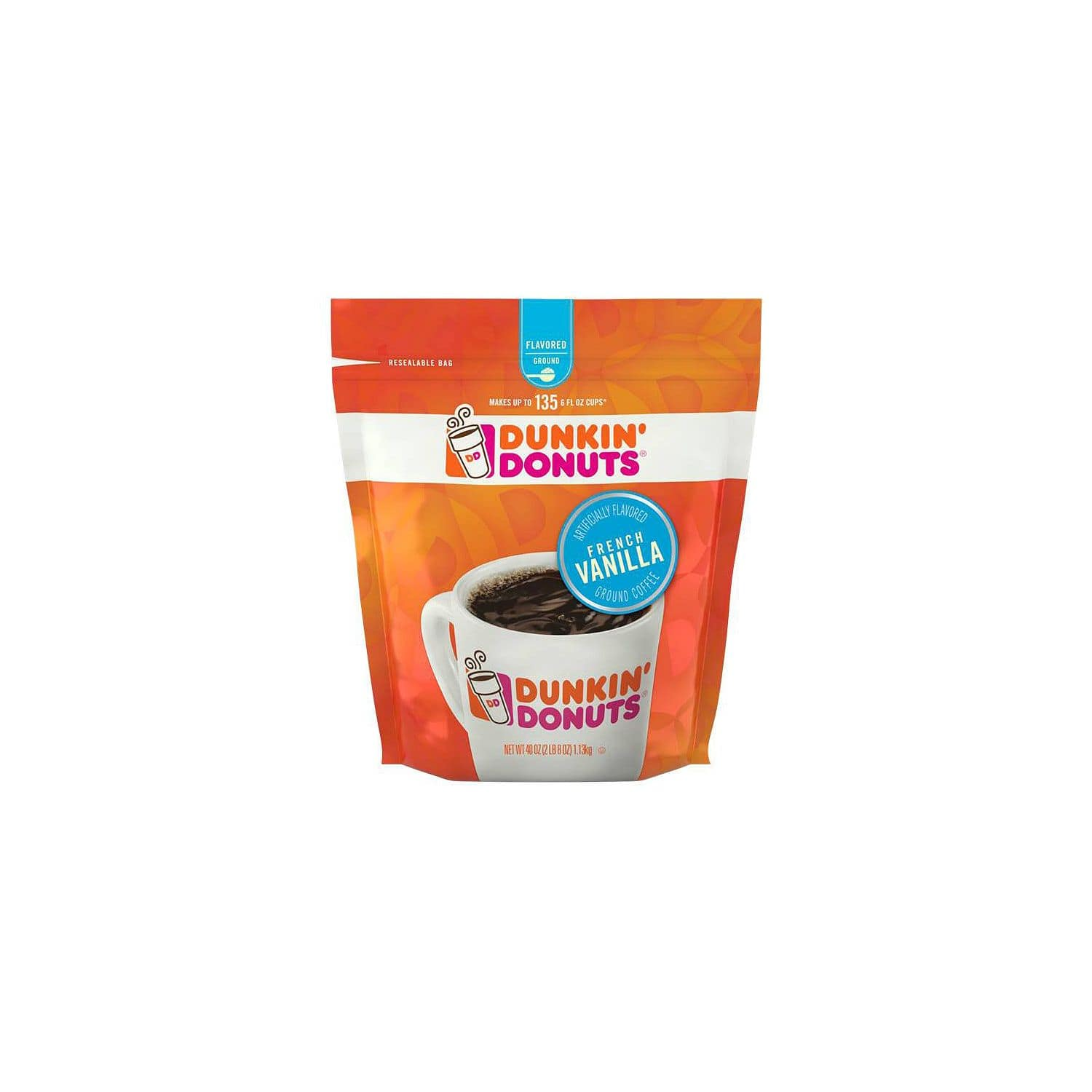 40 oz. Dunkin' Donuts Ground Coffee French Vanilla $9.81 shipped
