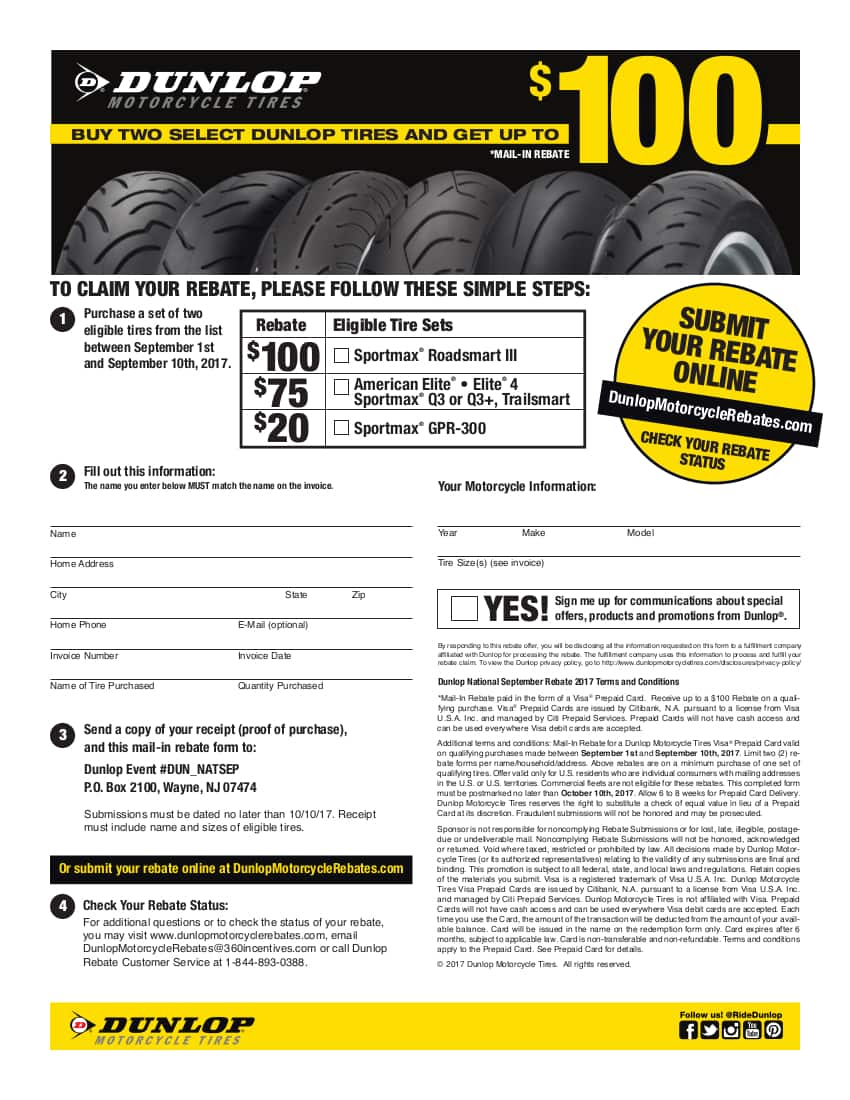 Up to $100 Dunlop Rebates on Q3 and Sportmax Roadsmart III