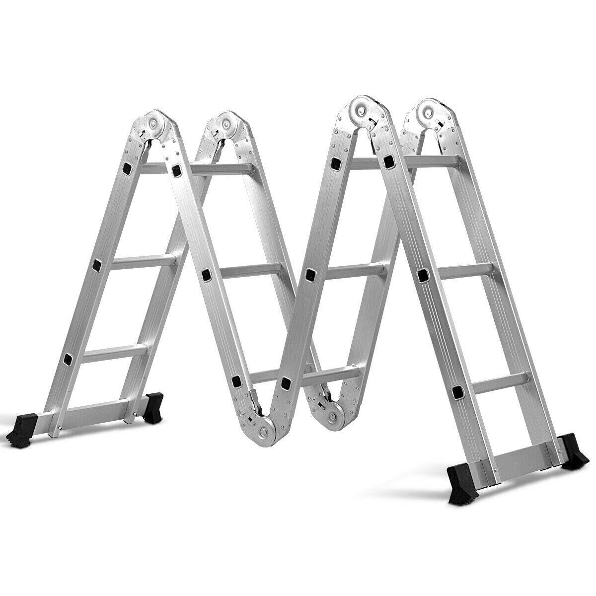 Costway 12.5' 12-Step Multi Purpose Aluminum Folding Scaffold Ladder + $76.95 + FS