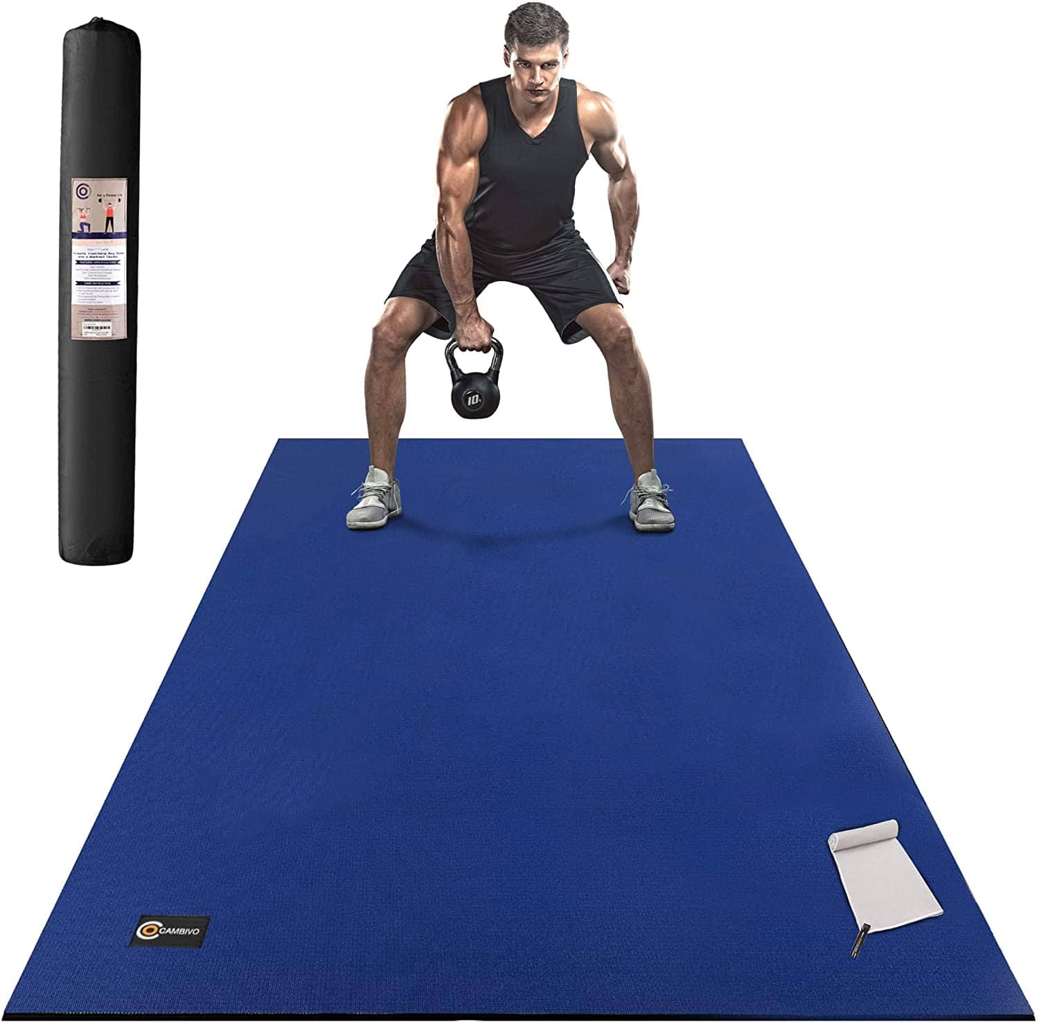 CAMBIVO Large Exercise Mat 6'x4'x7mm, Shoes Friendly Workout Mat for $59.99, Free Shipping w/ Prime