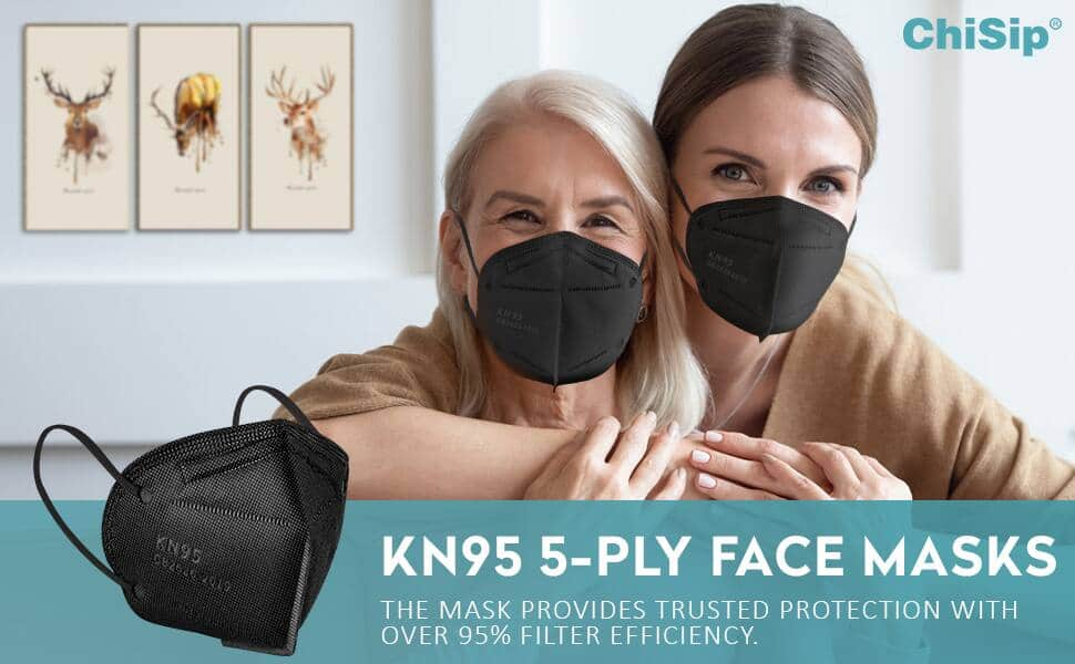 ChiSip Official Store via Amazon: 20-Pack KN95 Masks 5-Layer Filter Efficiency ≥ 95% Black Face Mask for Men & Women $11.99 & free shipping