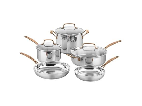 Cuisinart C7M-8RG 8-Piece Stainless Rose Gold Cookware Set - $79.99 (73% Off)